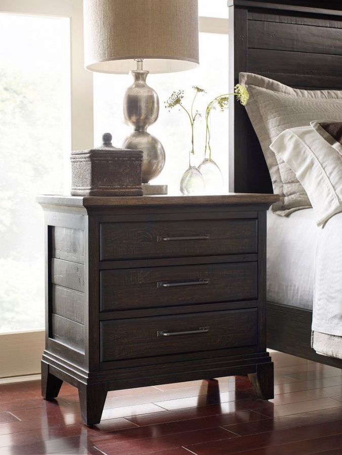 Plank Road Charcoal Nightstand